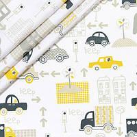 Хлопковая ткань Желтые машинки, фото 1