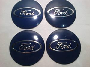 Наклейка выпуклая на колпачок диска Ford синяя 56 мм