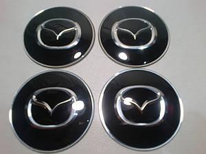 Наклейка выпуклая на колпачок диска Mazda 65 мм черная