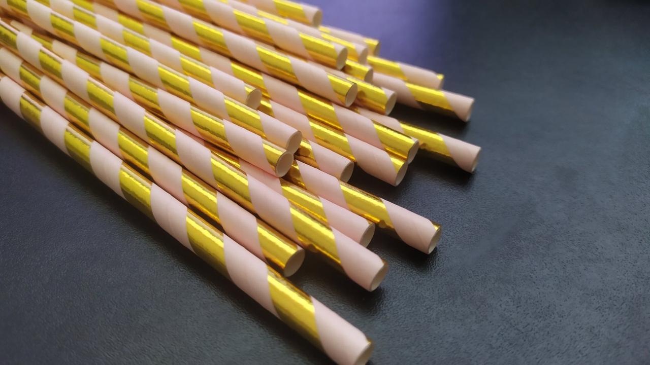 Трубочки для напитков бумажные золотисто-персиковая, 25 шт./уп.