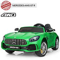 Детский электромобиль Mercedes AMG GT. Двухместный. Подсветка. 4 мотора. Скорость 8км/ч. Экокожа. M 3905EBLR-5