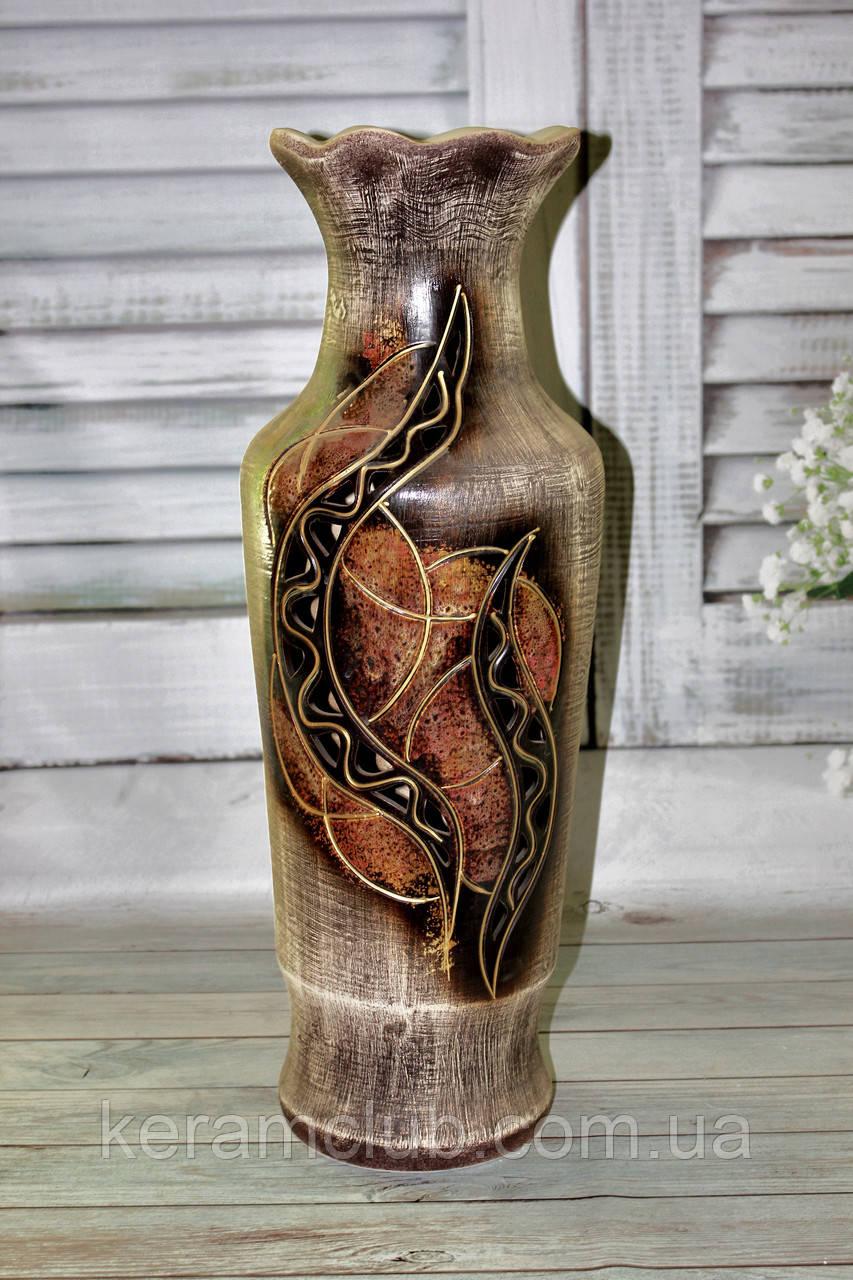 Напольная ваза Абстракция золото h 63 см