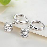 Сережки квадрат, Медсплав, жіночі  сережки з кристалом FS1731-75