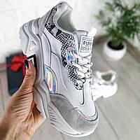 Серебряные кроссовки женские, фото 1