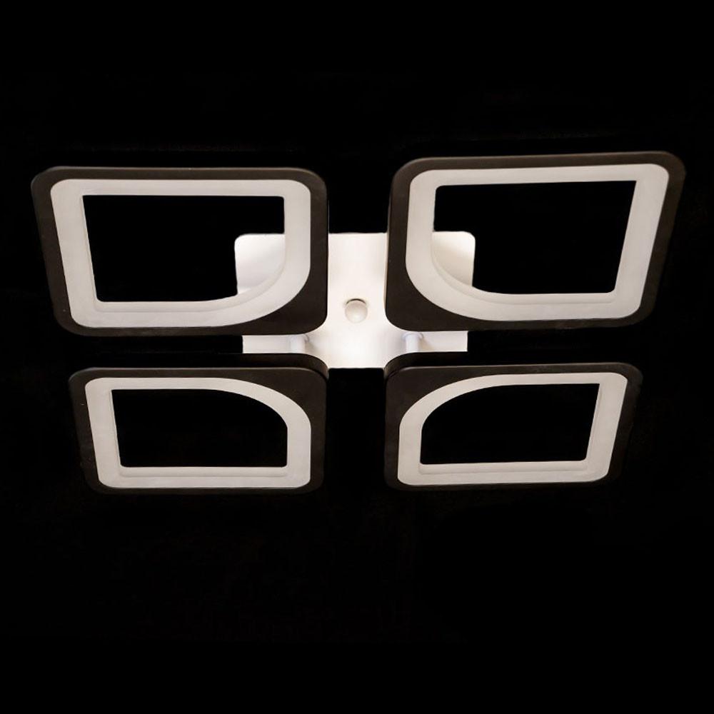 Люстра светодиодная квадраты с пультом димер цвет черно белый 75W Диаша&S8060/4BK dimmer