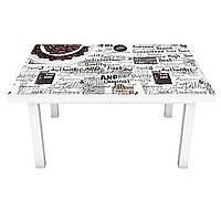 Виниловая 3Д наклейка на стол Кофе Надписи (ПВХ пленка самоклеющаяся) под обои Абстракция Серый 600*1200 мм