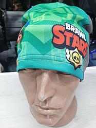 Детская демисезонная шапка для мальчиков, легкая, трикотажная с принтом Brawl Stars, размер 52-54