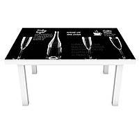 Виниловая 3Д наклейка на стол Стеклянные бокалы (наклейка ПВХ пленка самоклеющаяся) надписи мелом Абстракция Черный 600*1200 мм