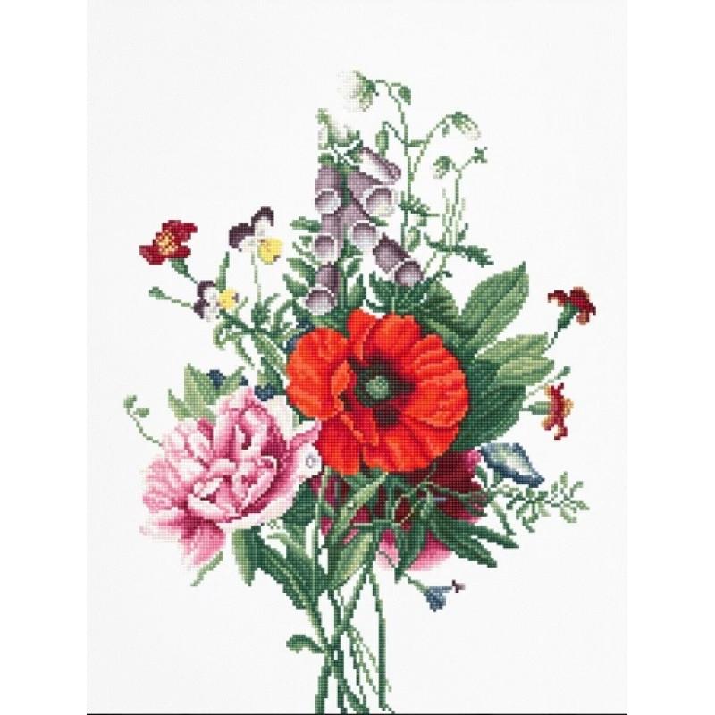 Набор для вышивания нитками Luca-S Цветы Букет с маком и пионом