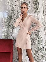 Стильное платье на запах женское. Цвета: пудра, беж, красный, чёрный. Размеры: 42-44, 44-46, 46-48.