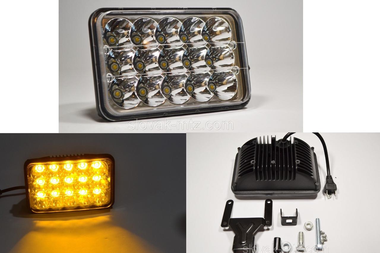 Светодиодная LED фара ближний+дальний 45Вт 15ламп прямоугольная (на 2 режима) Желтый свет