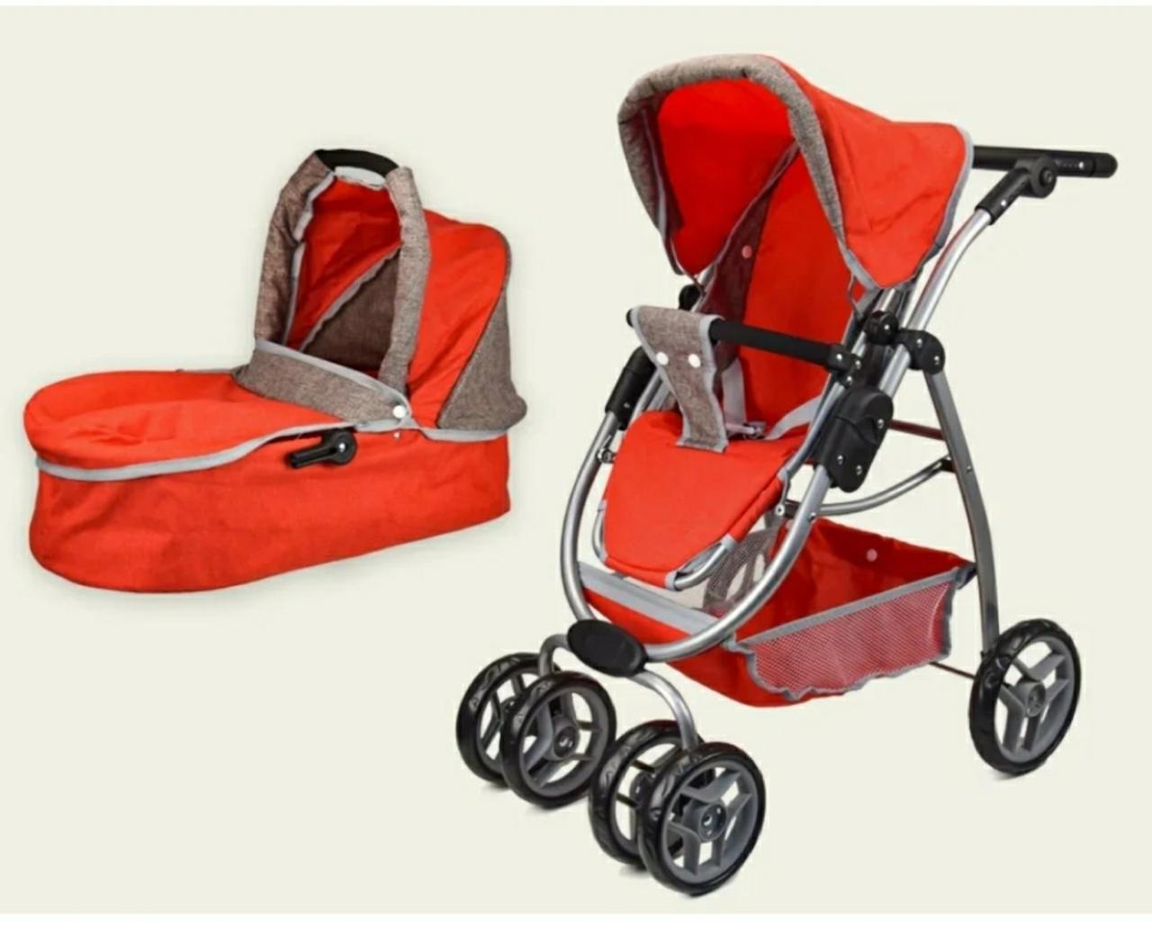 Дитяча коляска-трансформер для ляльок Melogo 9662 залізна, люлька-переноска, червона
