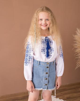 Блуза вышиванка  Звездочки синие, фото 2