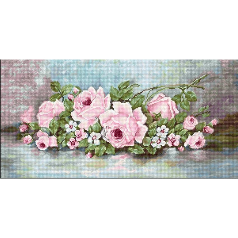 Набор для вышивания нитками Luca-S Цветы Розы