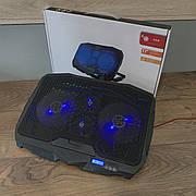 Охлаждающая подставка для ноутбука Laptop Cooler регулируемая с подсветкой охладитель вентилятором USB