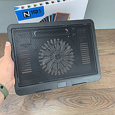 Охолоджуюча підставка для ноутбука N191 з підсвічуванням охолоджувач вентилятором USB, фото 3