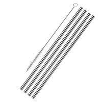 Трубочки из нержавеющей сталь прямые 4 шт., 21,5 см., диаметр 6 мм. с щеточкой WESTMARK