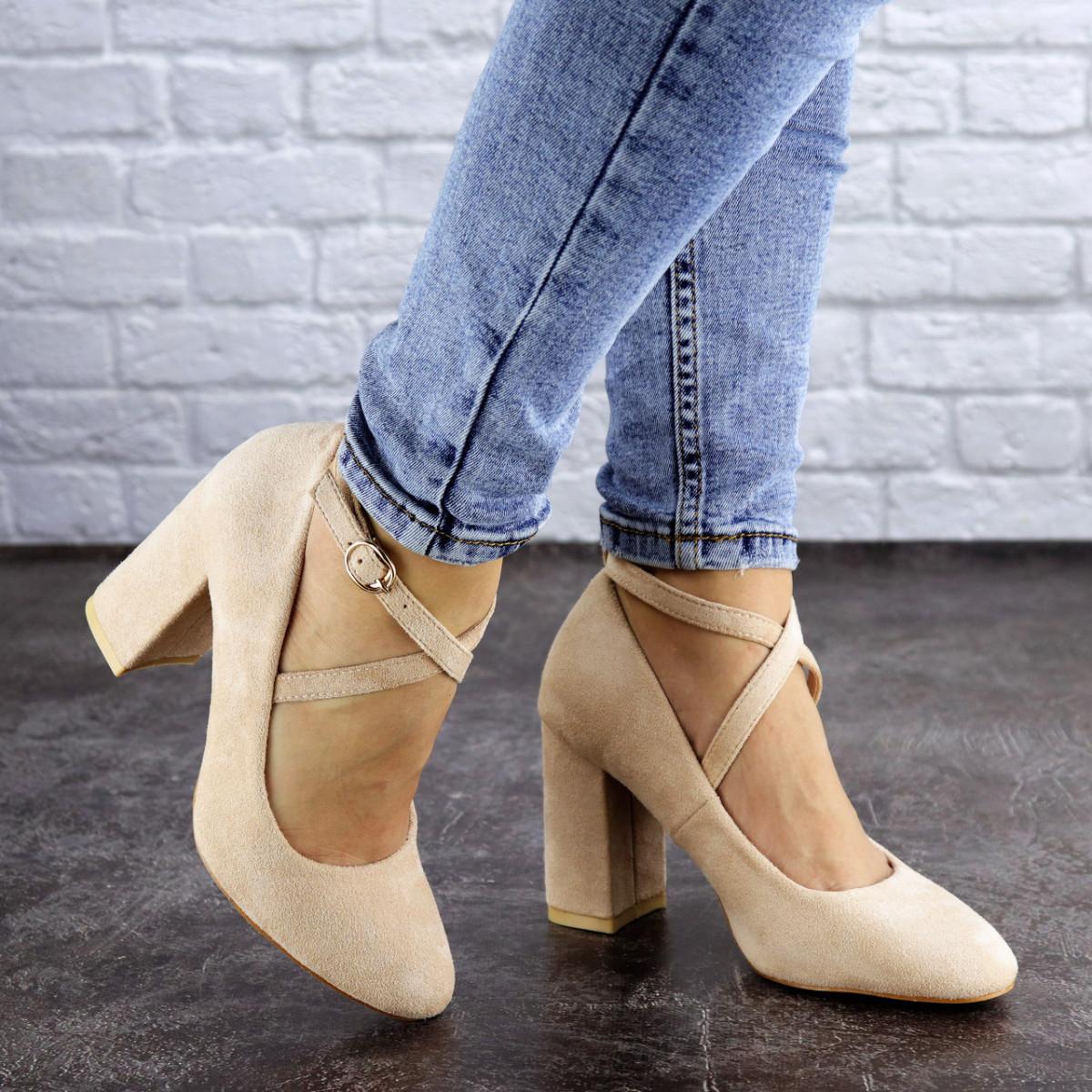 Туфли женские на каблуке бежевые Blitz 2112 (38 размер)