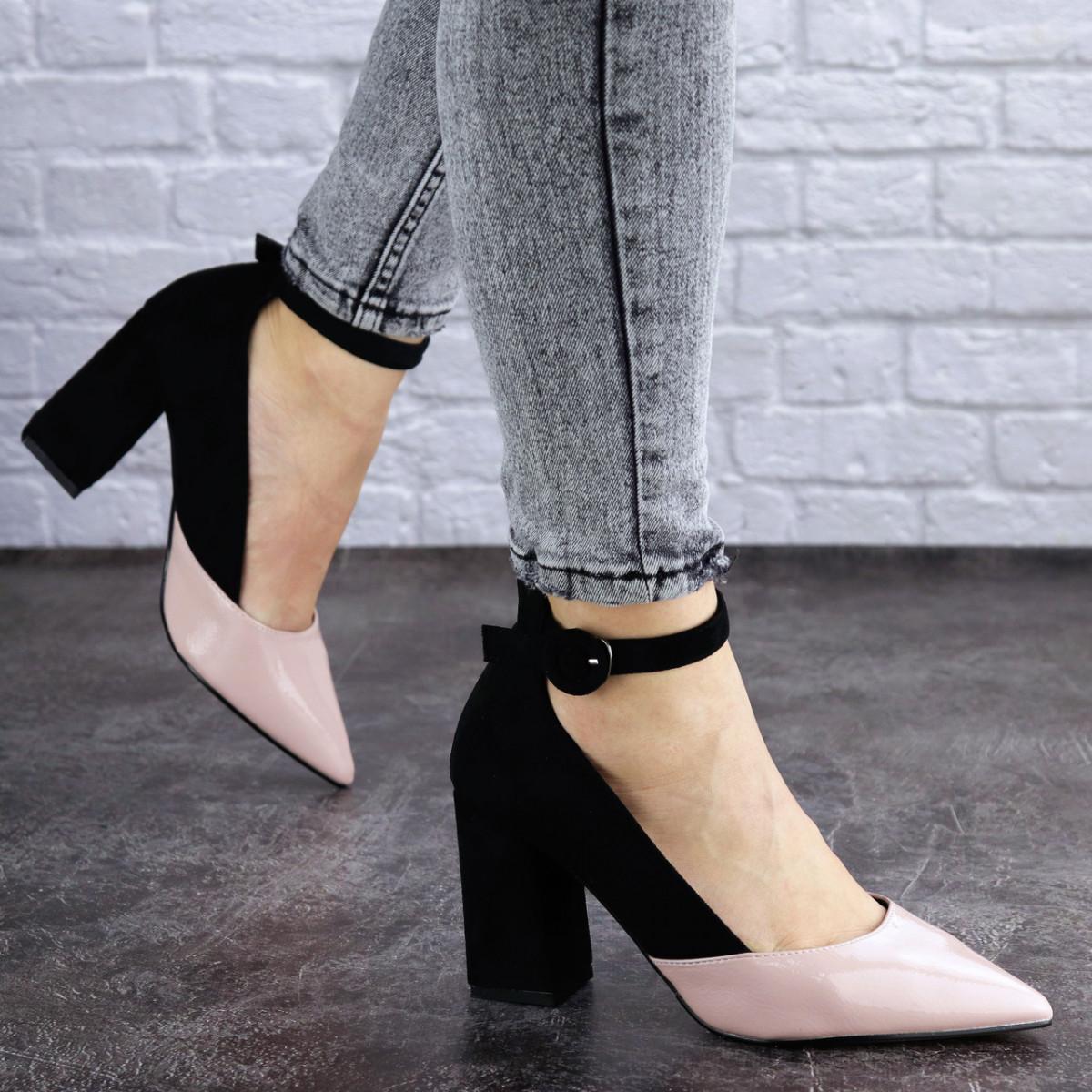 Женские туфли на каблуке розовые с черным Tex 2029 (38 размер)