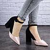 Женские туфли на каблуке розовые с черным Tex 2029 (38 размер), фото 8