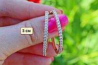 Серьги-кольца с камнями  3 см