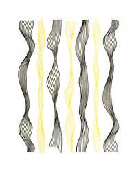 Гибкая волнистая лента для ногтей шириной 0.4 мм черный и золото