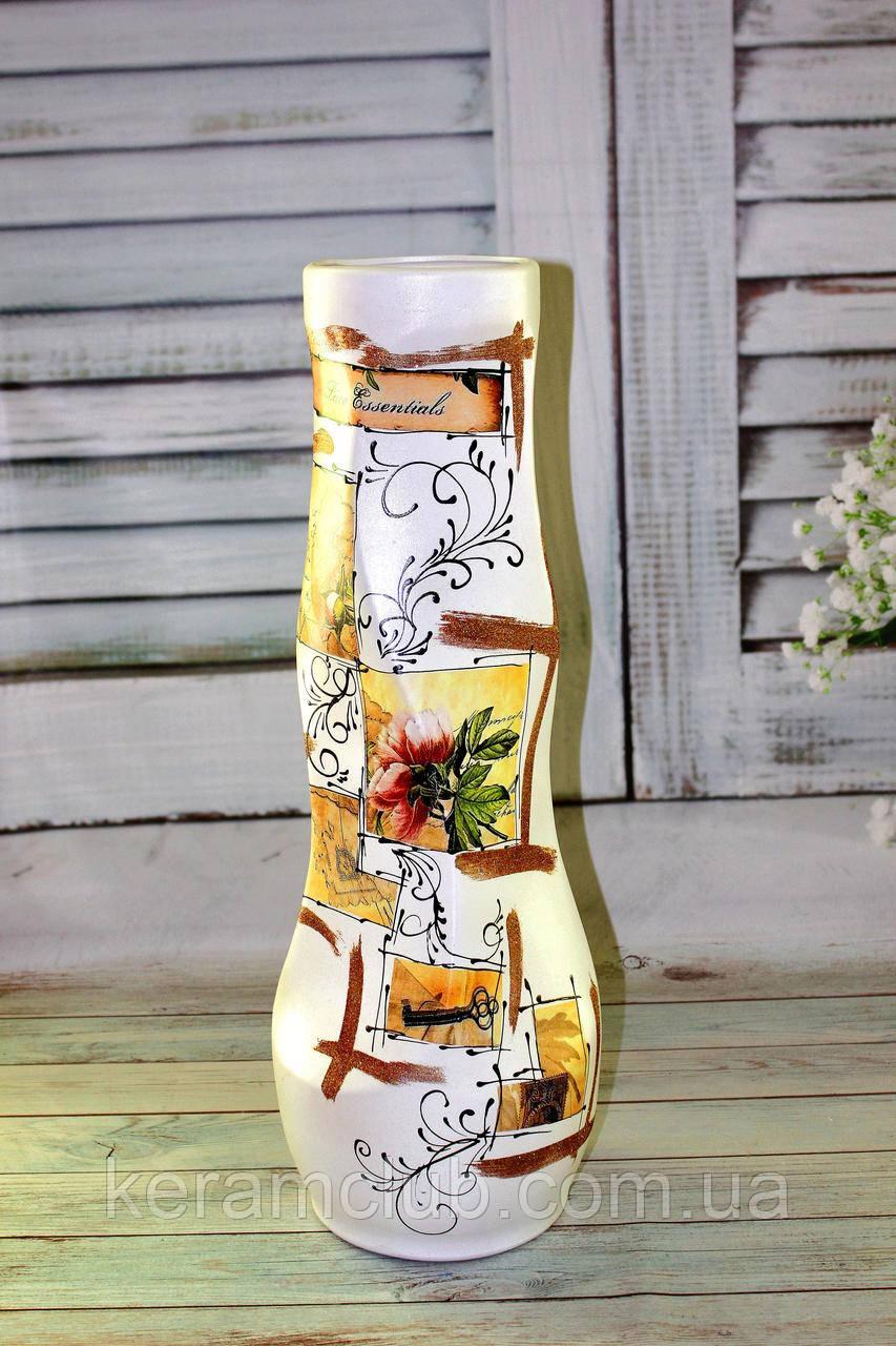 Напольная ваза белая Пион h 65cм