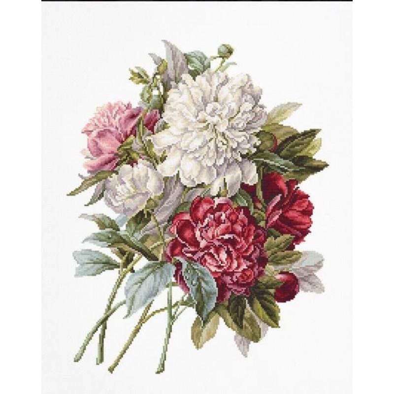 Набор для вышивания нитками Luca-S Цветы Пионы