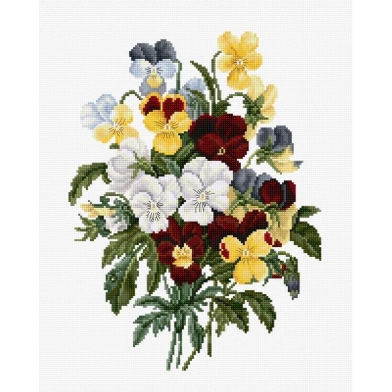 Набор для вышивания нитками Luca-S Цветы Букет анютиных глазок