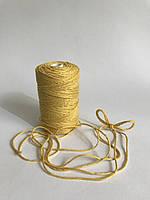 Шпагат хлопок 40 метров   для упаковки, цвет жёлтый. Уценка.