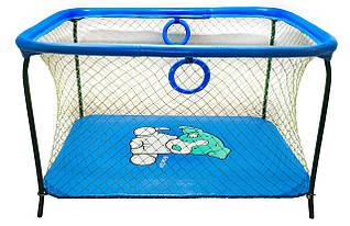 Манеж детский игровой KinderBox люкс Голубой собачка с крупной сеткой (R 73)