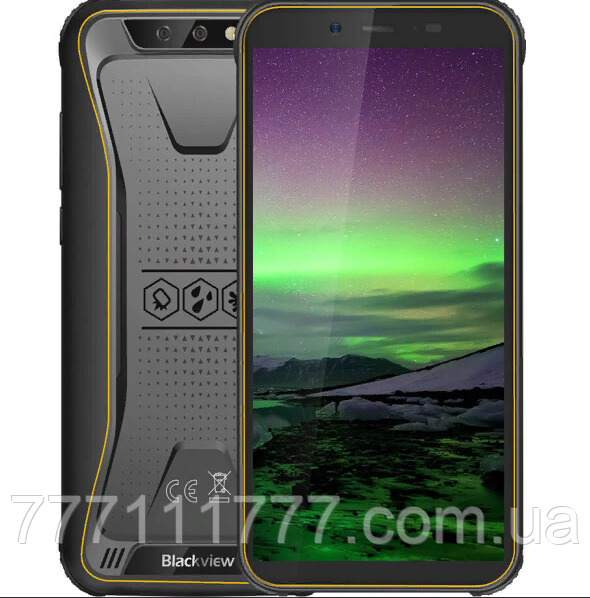 Смартфон противоударный хорошим аккумулятором с большой емкости на 2 sim Blackview BV 5500 Orange 2/16 гб NFC
