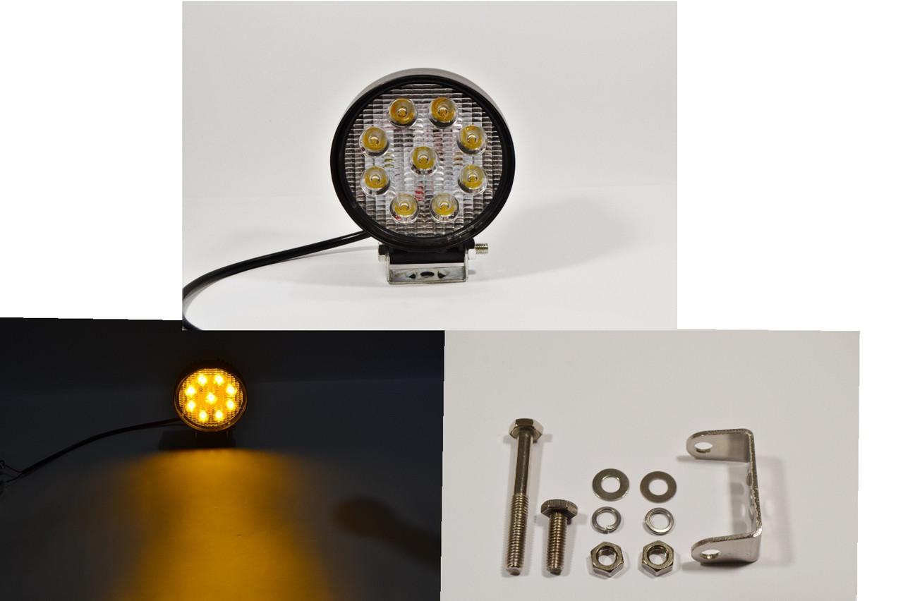 Светодиодная LED противотуманная  36Вт,(4Вт*9ламп) Широкий луч (Желтый свет)