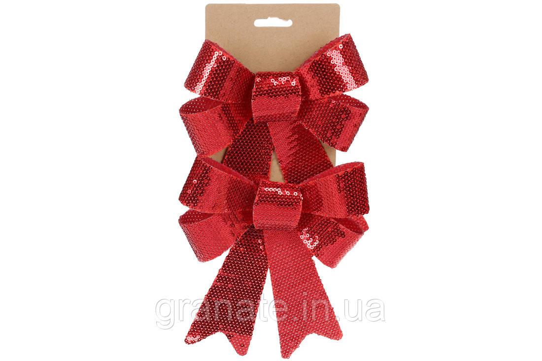 Набор (3 шт) декоративных бантов 14*20см, цвет - красные пайетки