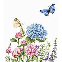 Набор для вышивания нитками Luca-S Цветы Летние цветы и бабочки Aida 16 ct.