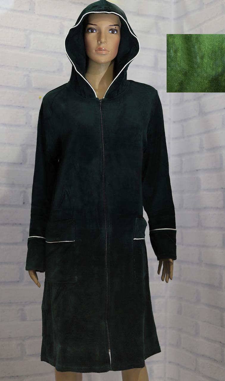 Халат женский велюровый, длинный рукав, на молнии, карманы, капюшон, однотонный, Аrion
