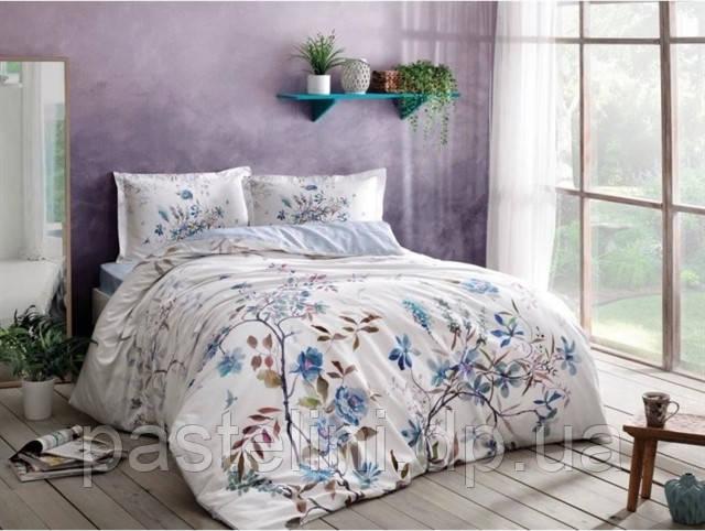 ТАС Digital  Lindy mavi евро комплект постельного белья сатин
