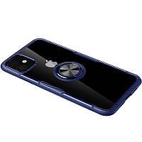 "TPU+PC чехол Deen CrystalRing for Magnet (opp) для Apple iPhone 12 (5.4"") Бесцветный / Синий"