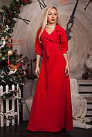Красное женское платье с поясом на талии