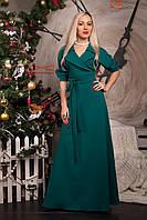 Нарядное длинное платье бутылочного цвета