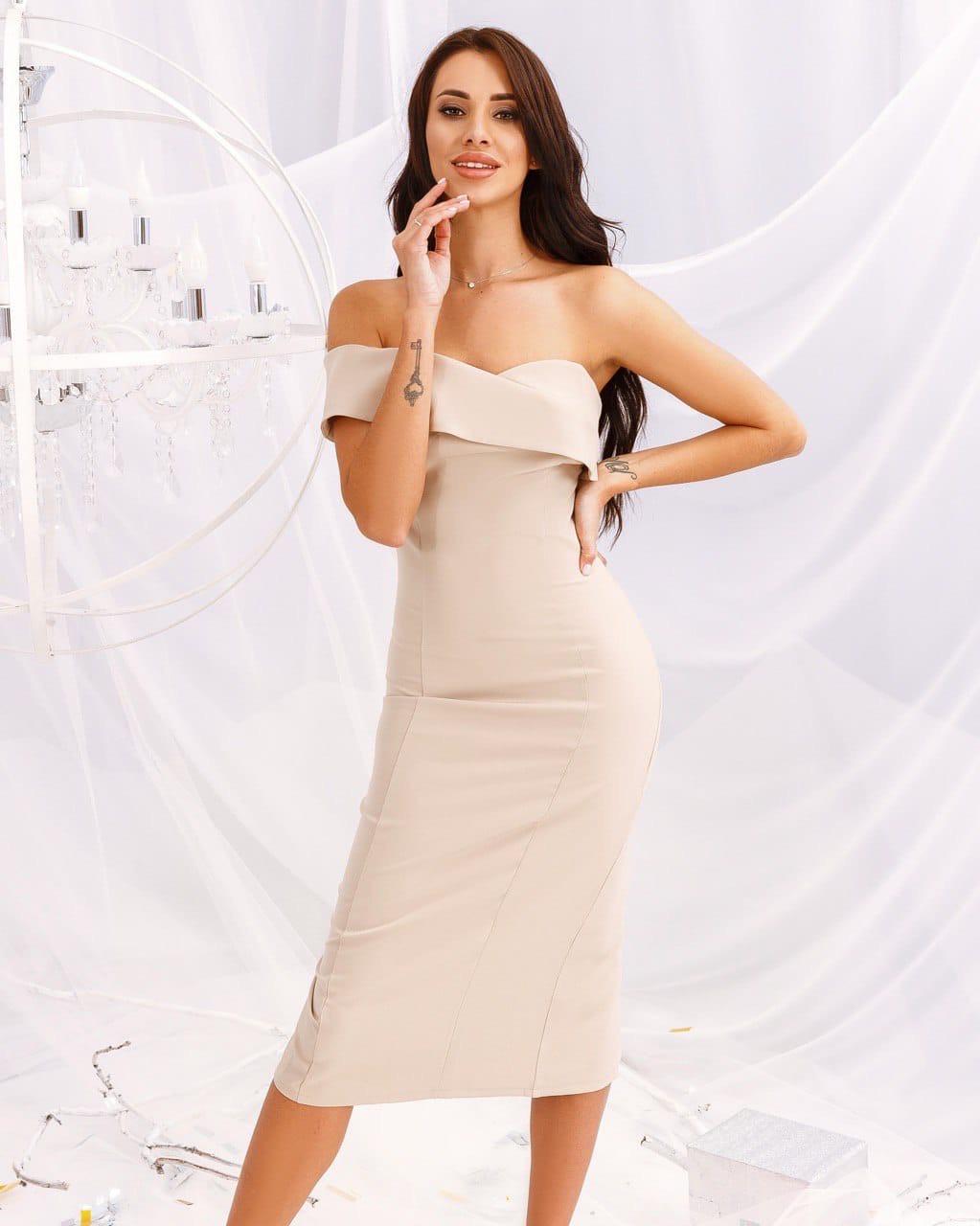 Платье женское со спущенным плечом AniTi 158, бежевый