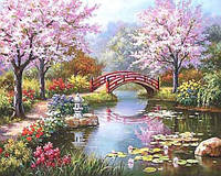 Картина для рисования по номерам, цветущий парк 40х50 см., фото 1