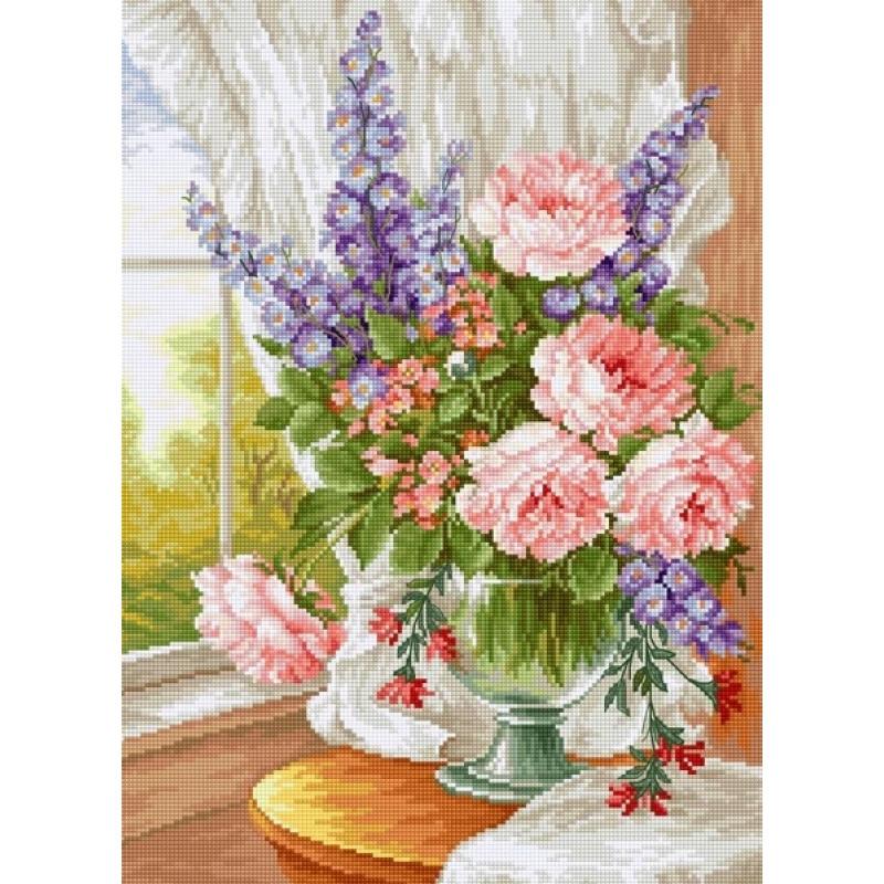 Набор для вышивания нитками Luca-S Цветы Цветы у окна  Aida 16