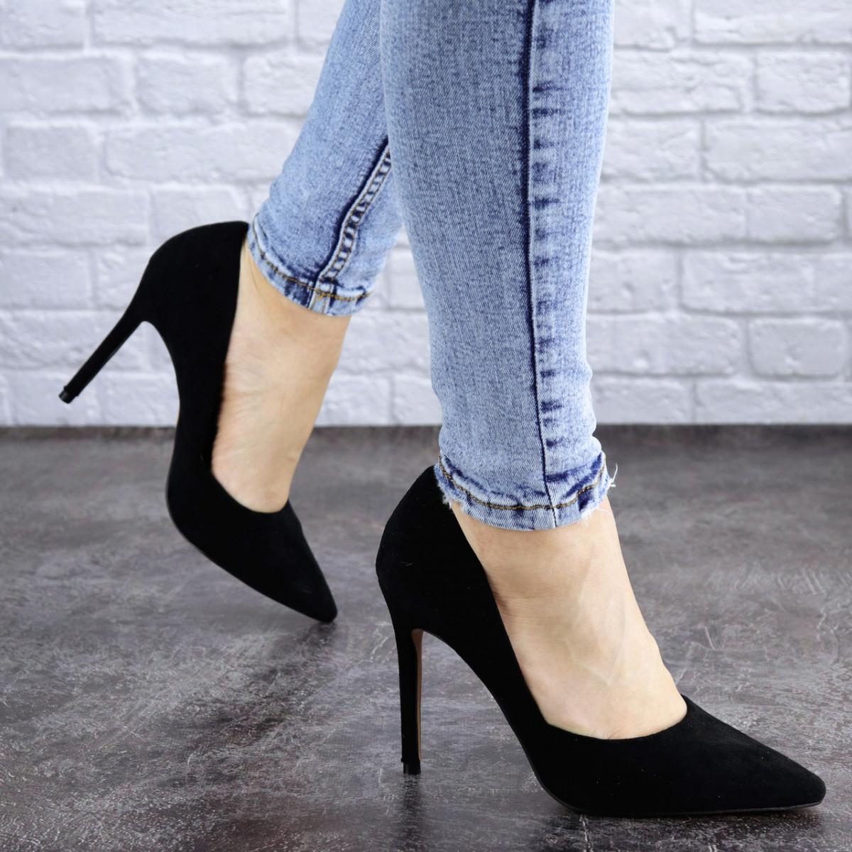 Женские черные туфли на шпильке Alaska 2040 (37 размер)
