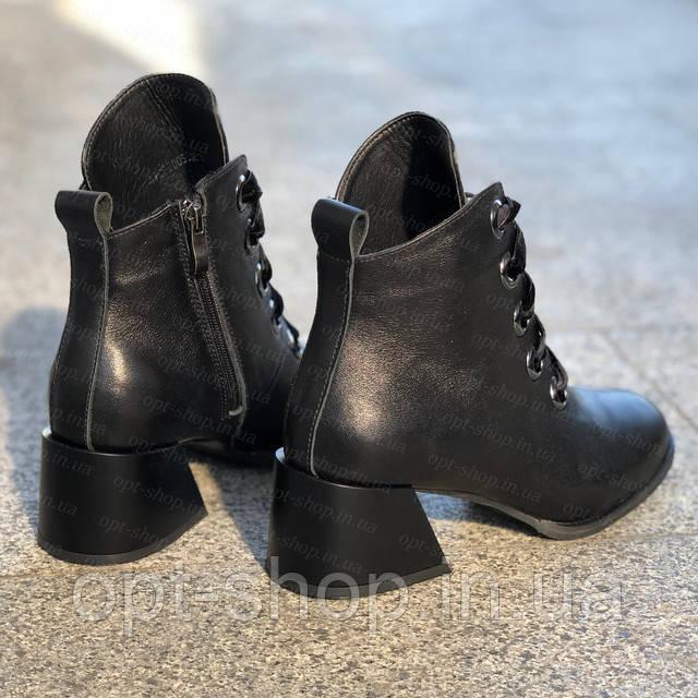 Ботинки ботильоны женские демисезонные осенние кожаные на толстом каблуке
