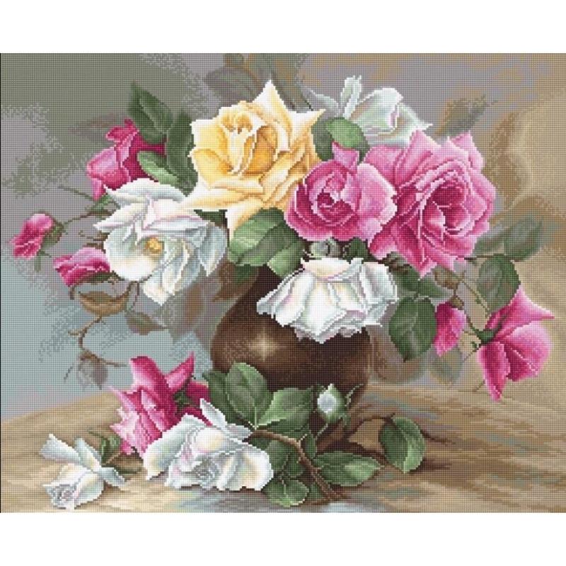 Набор для вышивания нитками Luca-S Цветы Ваза с розами Aida 18
