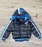 Утепленная дутая куртка на синтепоне со съемным капюшоном. ( Внутри мех-травка). 8-  лет.