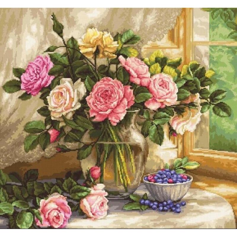 Набор для вышивания нитками Luca-S Цветы Натюрморт с голубикой Aida 18