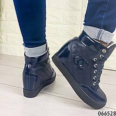 Женские ботинки демисезонные синие на танкетке из эко кожи + эко лак. Внутри текстильная подкладка, фото 3