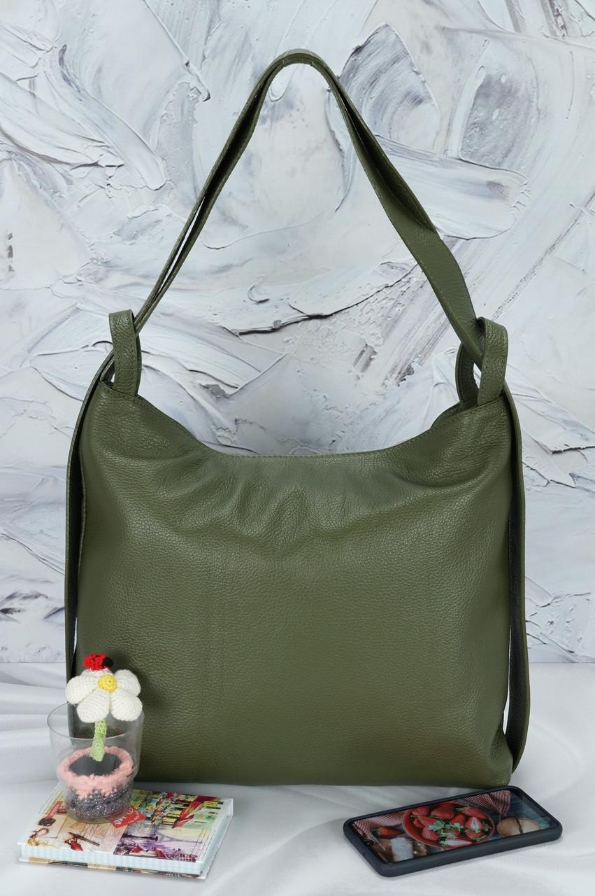 Женская сумка-рюкзак из натуральной матовой кожи зеленая 02800, Италия.